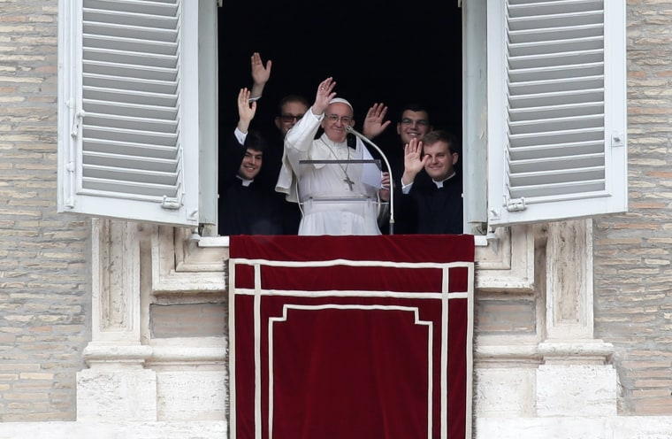 Image: Pope Francis leads the Regina Coeli prayer at the Vatican, Sunday.