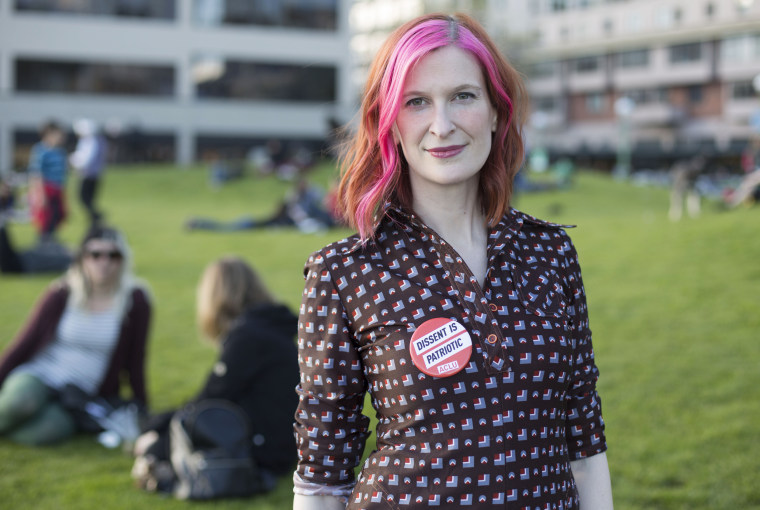 Image: Pinky Weitzman, member of the Magnetic Fields, and ACLU employee