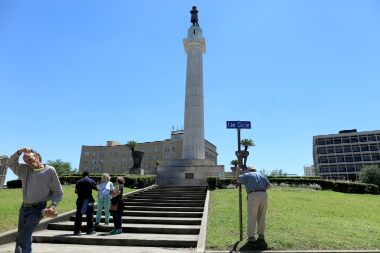 Image: The Robert E. Lee Monument, located in Lee Circle in New Orleans, is one of three remaining confederate statues slated to be removed in New Orleans Louisiana, April 24, 2017.