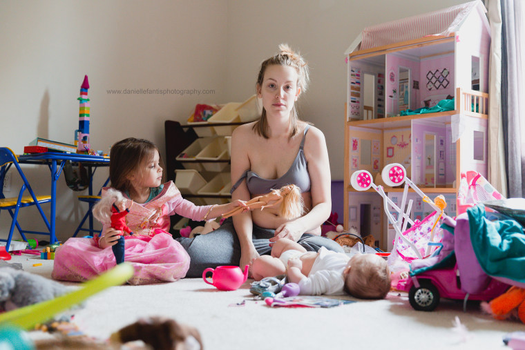 Postpartum depression side-by-side photos