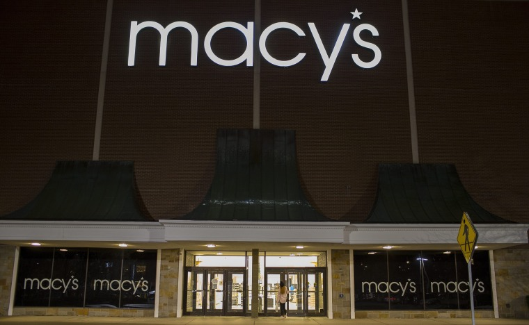 Image: Shoppers enter the Macy's department store in Burlington, Mass