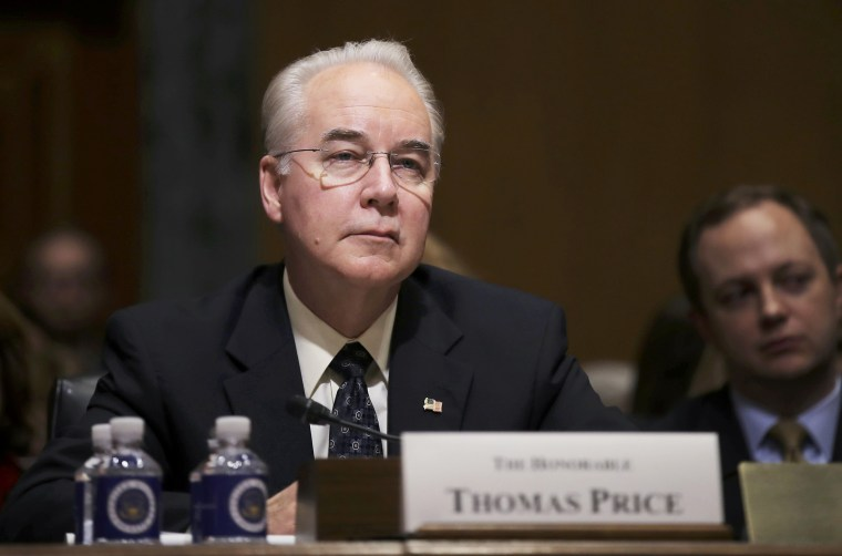 Image: Rep. Tom Price listens to opening remarks prior to testifying before a Senate Finance Committee confirmation hearing on his nomination to be Health and Human Services secretary on Capitol Hill in Washington,D.C. on Jan. 24.