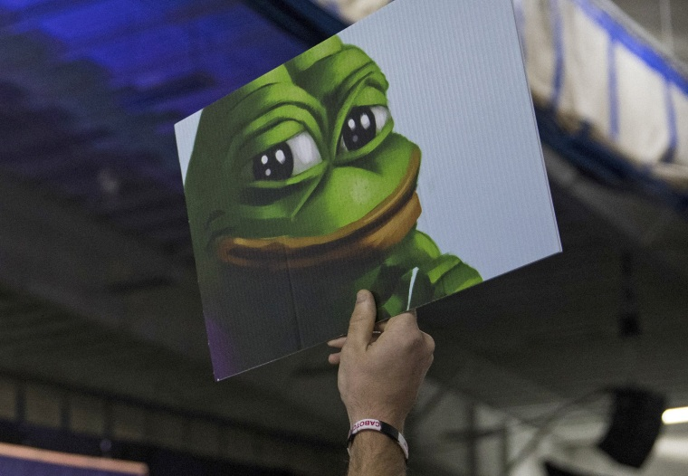 Image: An attendee holds up a sign of Pepe the Frog, a cartoon tied to anti-Semitism and racism that has become an unofficial mascot of the alt-right, during a campaign event with Donald Trump at a sports complex in Bedford, N.H.