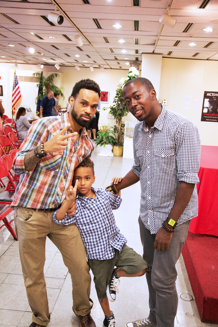 Grammy award winning recording artist Bilal with his son Ramzee, who suffers from Sickle Cell, at Sickle Cell Thalassemia Patients Network (SCTPN) in Brooklyn, NY.