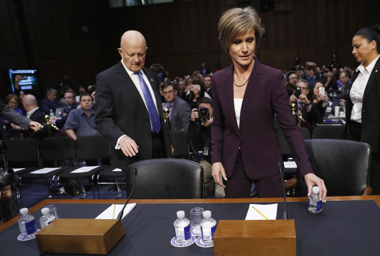 Image: Yates and Clapper arrive on Capitol Hill