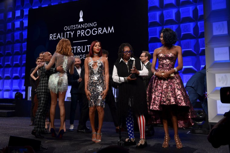 "Cast of Oxygen's ""Strut"" accepts the award for Outstanding Reality Program at the 28th Annual GLAAD Media Awards at The Hilton Midtown on May 6, 2017 in New York City."
