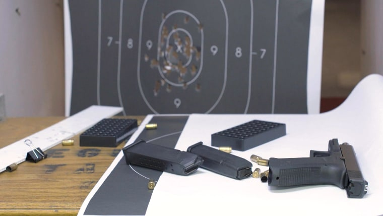A gun and target at Westside Rifle & Pistol Range, a gun range in Manhattan, New York City.