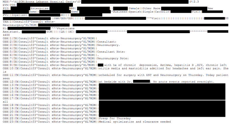 IMAGE: Leaked patient records from Bronx Lebanon Hospital Center