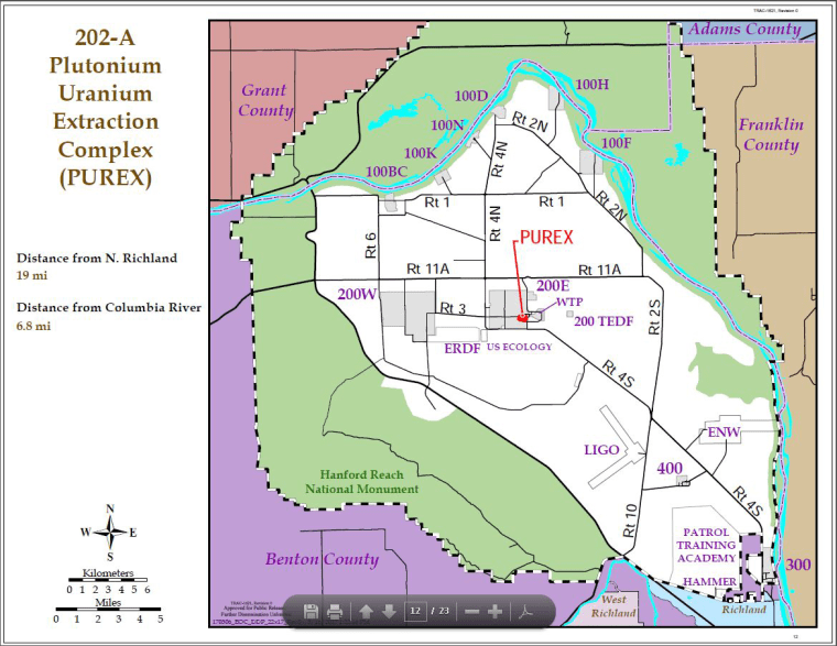 Image: Map of plutonium uranium extraction complex