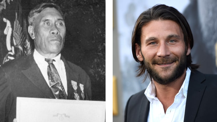 """Right: Mr. Benjamin Kanahele, of Niihau, Hawaii, displays the Medal for Merit and Purple Heart awarded to him for killing a Japanese Pilot who landed on Niihau after the Dec. 7, 1941, attack on Pearl Harbor; Left: Zach McGowan arrives at the world premiere of """"King Arthur: Legend of the Sword"""" at the TCL Chinese Theatre on Monday, May 8, 2017, in Los Angeles."""