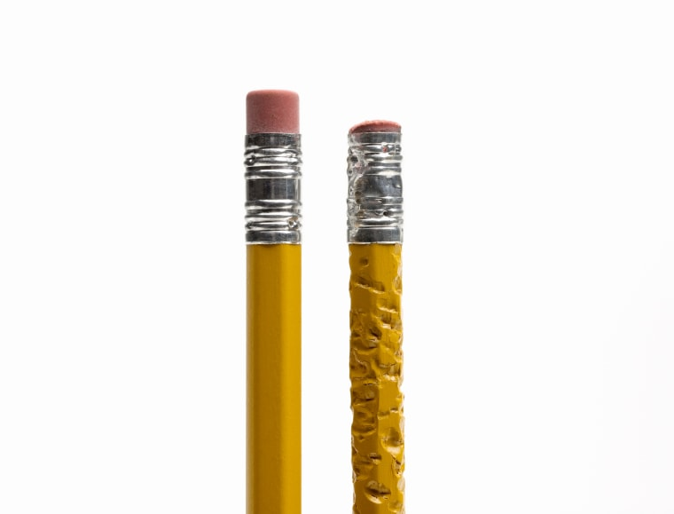 Image: Two pencils, side by side, one chewed