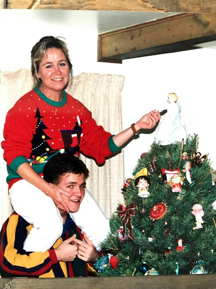 Image: Molly and Joey Daley at Christmas in 1988