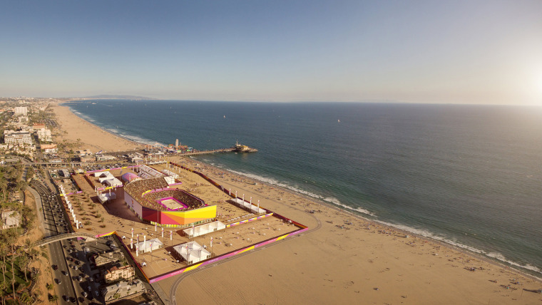 Image: Los Angeles' Olympic bid committee rendering shows how beach volleyball at Santa Monica beach would look like after receiving an Olympics-style makeover