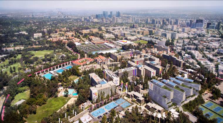 Image: Los Angeles' Olympic bid committee rendering shows how aerial view of the UCLA campus would look like after receiving an Olympics-style makeover