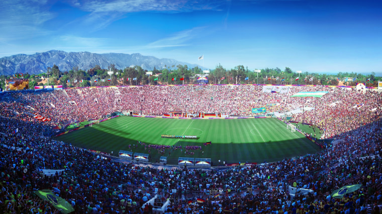 Image: Los Angeles' Olympic bid committee rendering shows how soccer (football) at Rose Bowl Stadium would look like after receiving an Olympics-style makeover