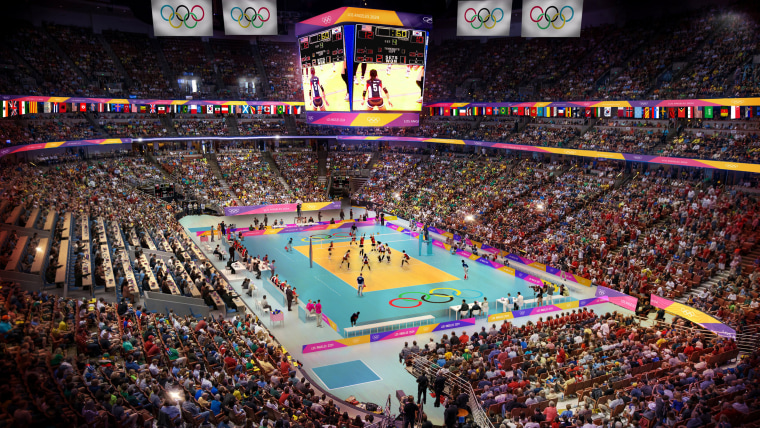 Image: Los Angeles' Olympic bid committee rendering shows how volleyball at the Honda center would look like after receiving an Olympics-style makeover