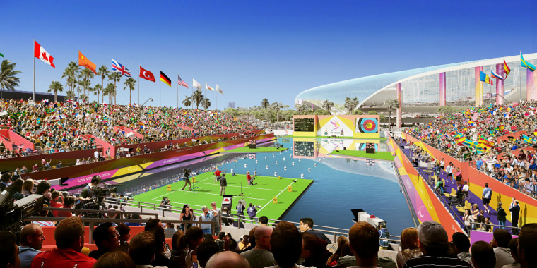 Image: Los Angeles' Olympic bid committee rendering shows how paralympic archery at L.A. Stadum at Hollywood Park would look like after receiving an Olympics-style makeover