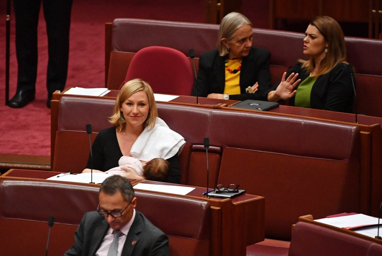 Image: Greens Senator Larissa Waters first politician to breastfeed in the Australian parliament