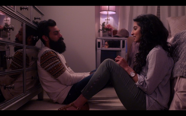 "Kausar Mohammed as Sana and Haaris as Saagar Shaikh vent about their parents in a scene from ""Unfair & Ugly."""