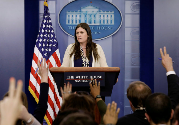 Image: White House spokesperson Sarah Sanders holds a press briefing in Washington
