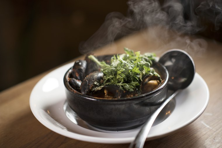 The mussel hotpot by Chef Edward Kim of Mott Street in Chicago