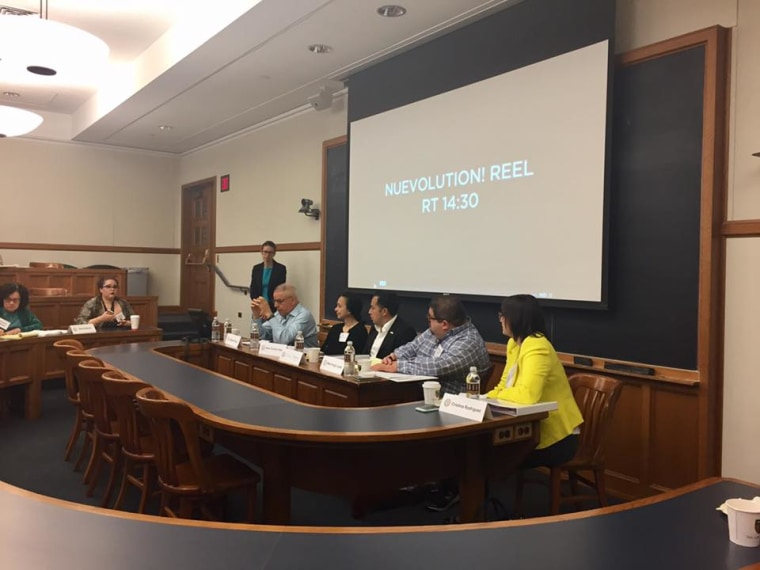 Panelists: Eduardo Diaz of the Smithsonian Latino Center, Aixa Cintron-Velez of the Russell Sage Foundation, Mark Hugo Lopez of the Pew Research Center (Pew Hispanic Center), and Cesar Vargas of the (DRM) Dream Action Coalition at the Northeast Roundtable at Yale Law School on April 9, 2017.