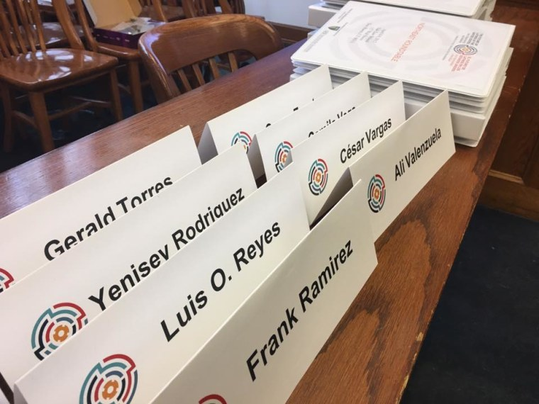 Name cards at the Yale Law School roundtables April 8, 2017