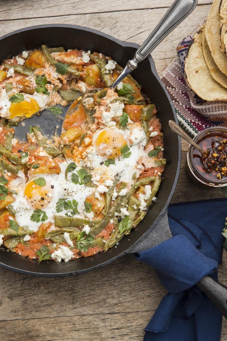 Breakfast Skillet (Cazuela de Huevos y Nopales al Horno) from CASA MARCELA by Marcela Valladolid.
