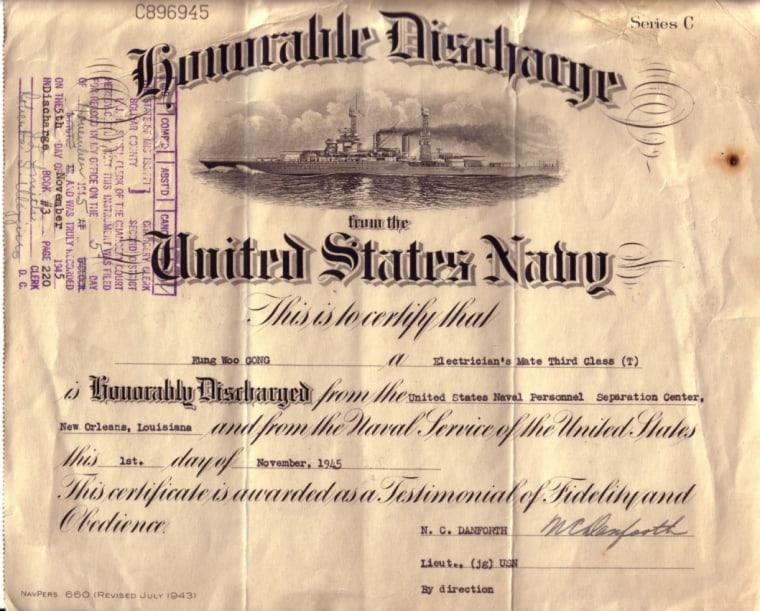 Discharge papers for World War II veteran Kung Woo Gong