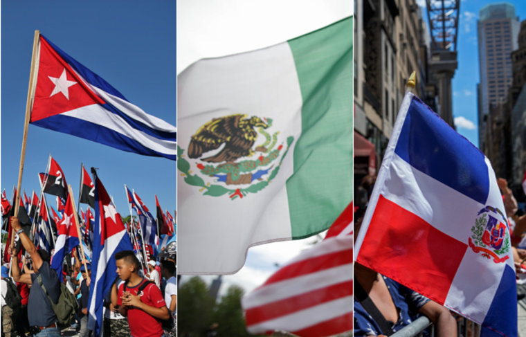 From left to right: Cuba flag, Mexico flag, Dominican Republic flag