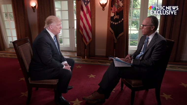 Image: President Donald Trump is interviewed by Lester Holt
