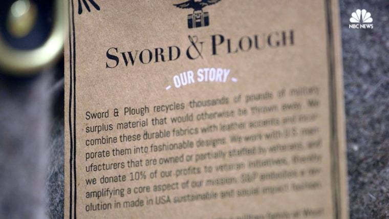 Sword & Plough purse tag.