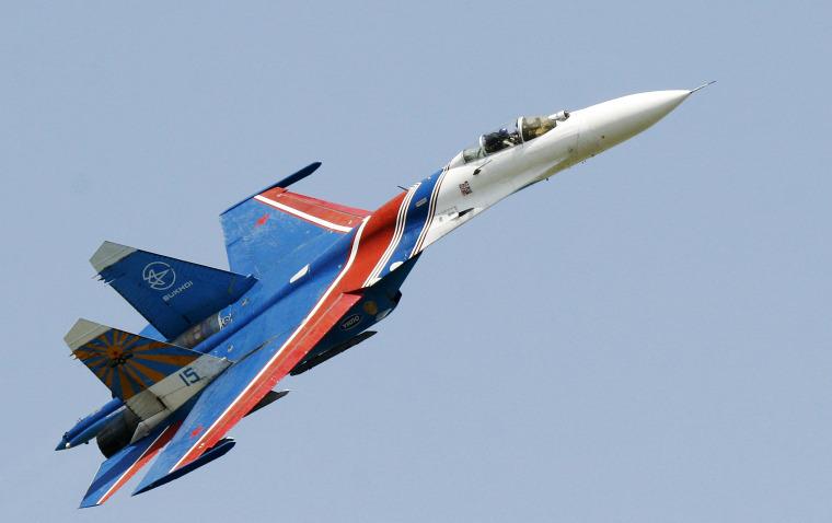 Image: A Russian Su-27 fighter jet