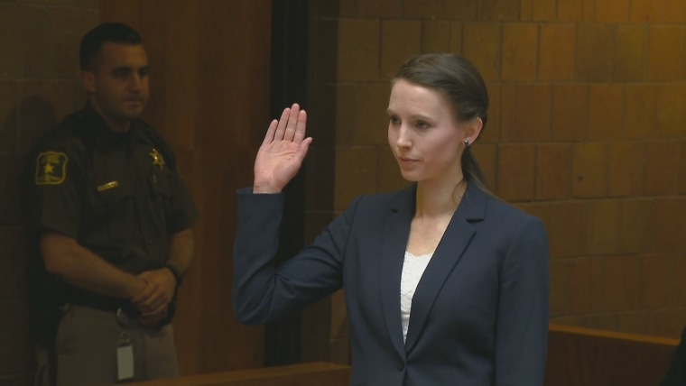 Rachael Denhollander testifies at a preliminary hearing for disgraced gymnastics doctor Larry Nassar on May 12, 2017.