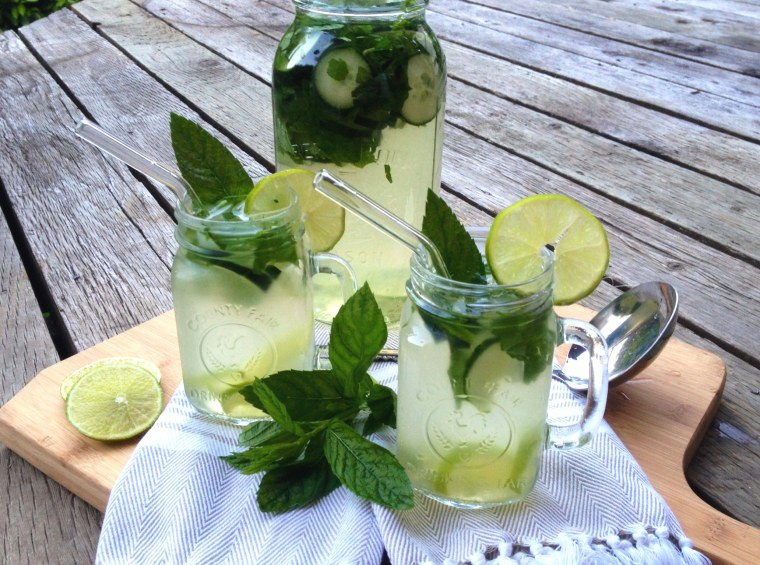 Image: Lime, mint, cucumber and green tea infusion