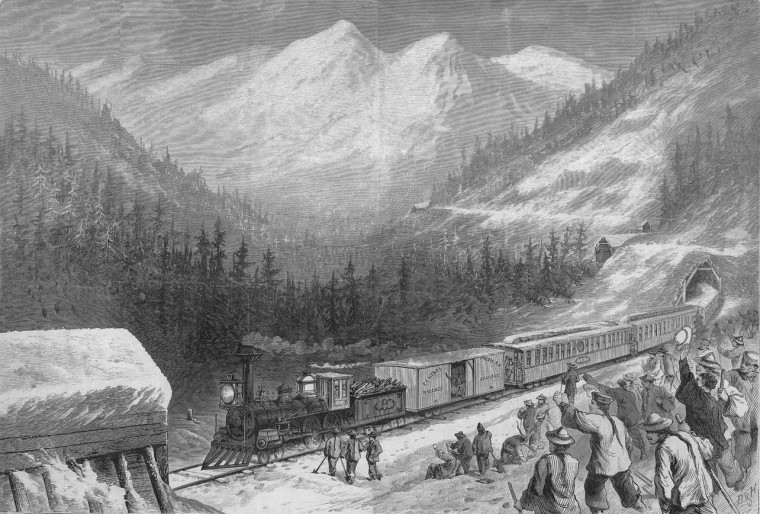 An illustration of Chinese railroad workers during the construction of the transcontinental railroad.