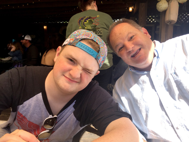 "In this undated family photo, Davis Cripe, 16, is shown with his dad Sean. According to a coroner, Cripe died April 26, 2017 from ""caffeine-induced cardiac event, with probable arrhythmia."""