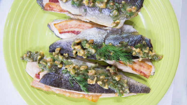 Grilled Cedar Plank Trout + Snap Peas with Feta and Mint
