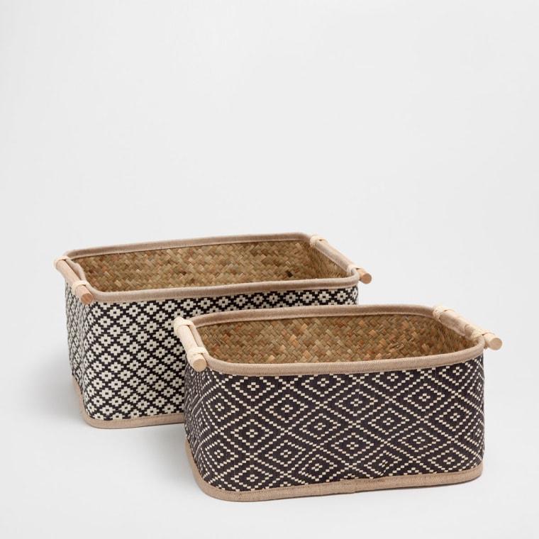 Two Toned Rectangular Basket