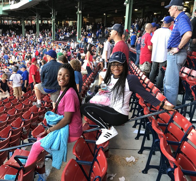 Mya (left) and Deanna at a Red Sox game.