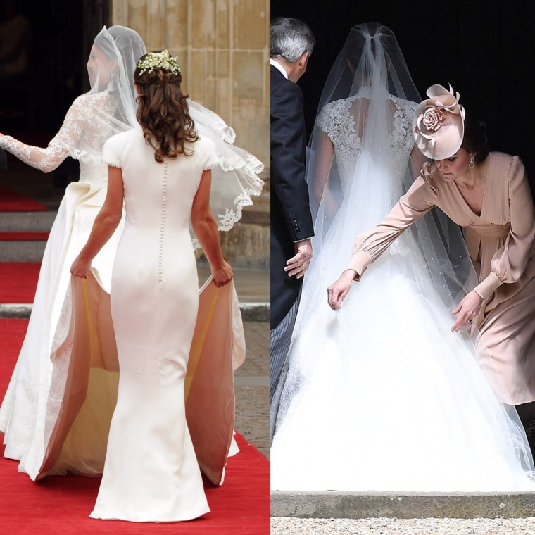 Pippa Middleton adjusting the train on the wedding gown of her sister, the Duchess of Cambridge in 2011, and the Duchess returning the favor for her sister in 2017.