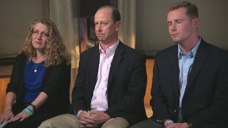 Image: Tim Piazza's parents, Jim and Evelyn, and his brother Mike speak about the death of the 19-year-old Penn State sophomore