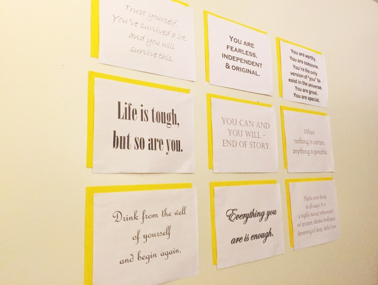 Image: A wall inside a therapy room at Rape Victim Advocates office