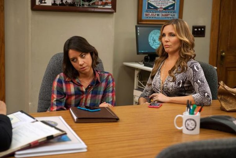 Aubrey Plaza as April Ludgate, June Diane Raphael as Tynnyfer on NBC's 'Parks and Recreation.'
