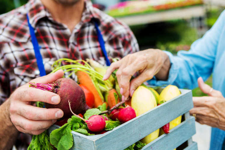 Image: Fresh vegetables being sold at farmers market