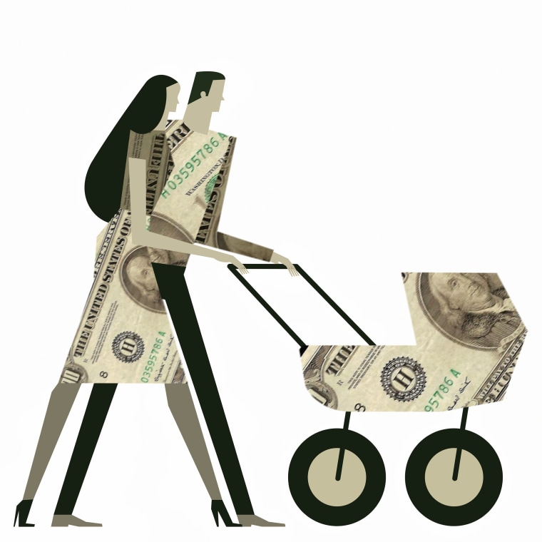 Image: Young couple with clothes and pushchair made out of US dollar banknotes