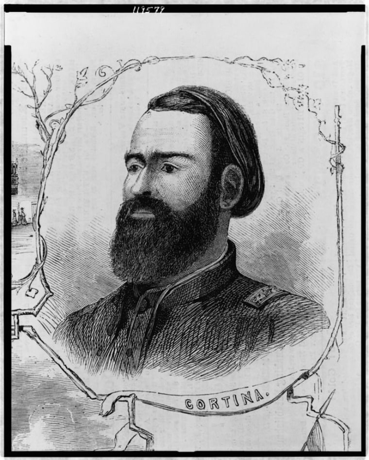 Image: An illustration of the civil war in Matamoras, showing head-and-shoulders portrait of Cortina, facing left