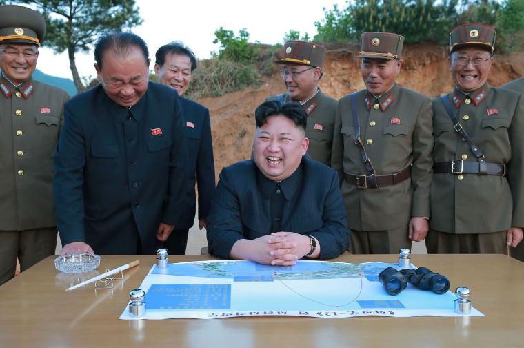 Image: Kim Jong Un during Hwasong-12 test on May 14, 2017