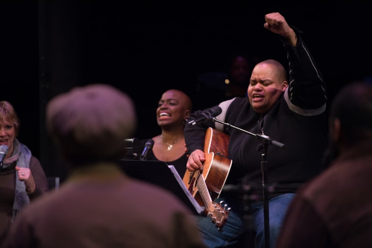 Toshi Reagon raises her fist during a performance of Parable of the Sower: The Concert Version at The Public Theater.