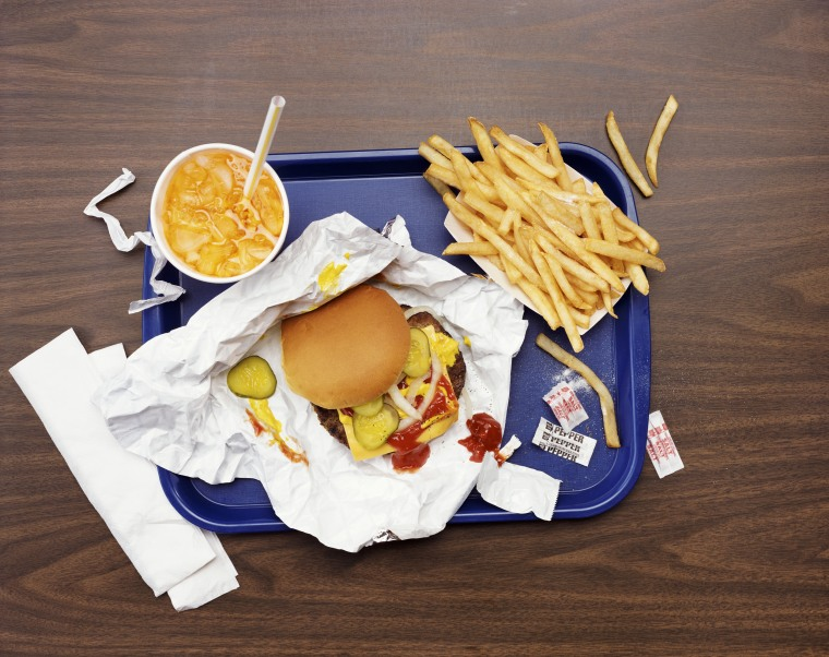 Image: Elevated View of a Tray With Fries, a Hamburger and Lemonade